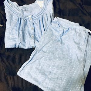 Baby blue and white pjs, short sleeve and Capri